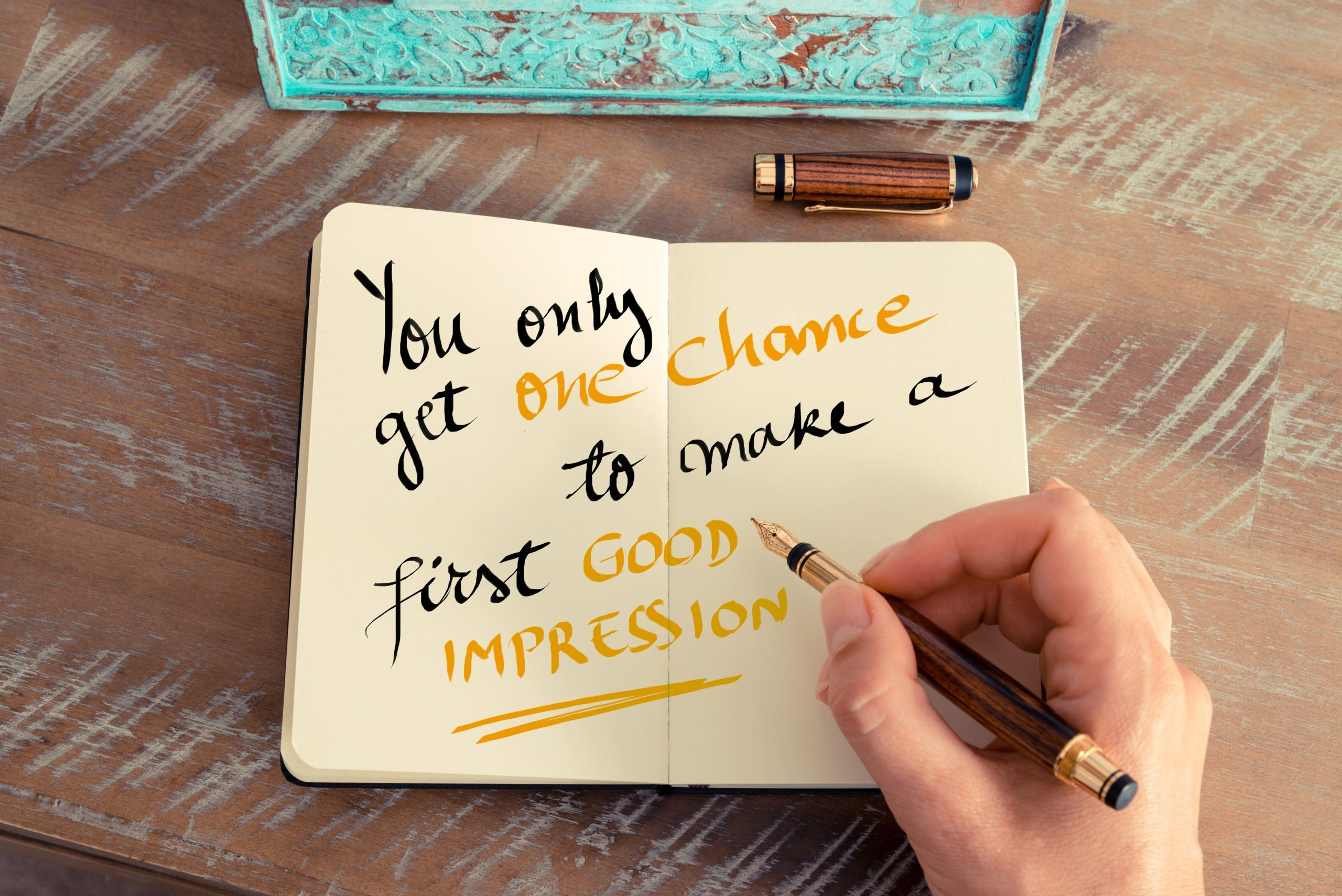 Handwritten text You Only Get One Chance To Make a First Good Impression as business concept image